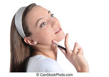 Attractive woman deliberates a decision