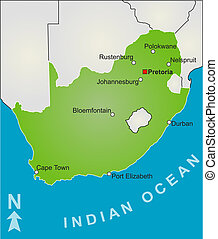 Map of South Africa - A stylized map of South Africa showing...