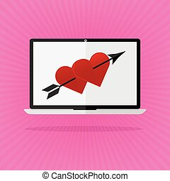 Flat design the red heart with arrow on laptop notebook love online dating on pink sunrays background. Valentines day I love you concept.