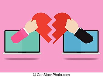 Man and woman hands appeared from laptop screen giving their own hearts to each other on pink background. Flat design of Valentines day love online with I love you concept.