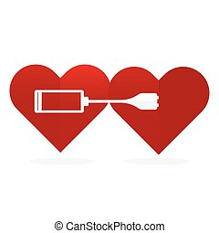 Flat design two red hearts wth battery charger Love power...