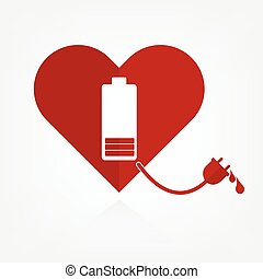 Flat design red hearts with low battery charger sign and...