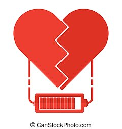 Flat design red broken hearts with battery charger sign and...
