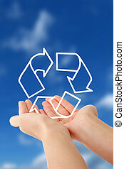 Sustainability - A person holding a symbol for...