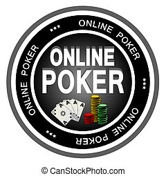 Online Poker - An illustrated dark badge symbolizing...