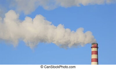 Industrial chimney for population heating during wintertime...