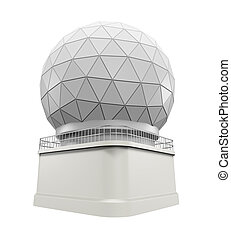 Radar Dome Station isolated on white background. 3D render