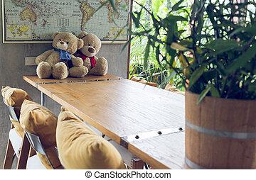 couple teddy bear on wooden table decoration