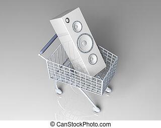 Music Shopping - 3D rendered Illustration. Shopping for...