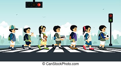 Students walking on a crosswalk with a traffic light