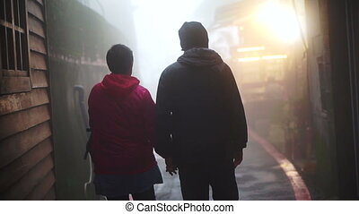 senior couple together in the mist