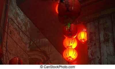 Red lanterns shining in the mist - Video of Chinese red...