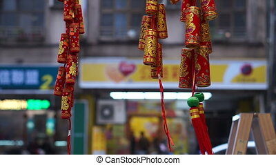 Red firecrackers Chinese New Year - Red and gold...