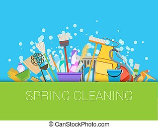 Spring cleaning composition background Set of cleaning...