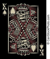 Skull Playing Card - fully editable vector illustration...