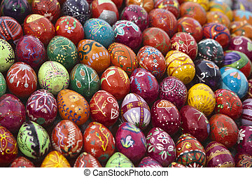 Easter colorful eggs Art background, Eastern Europe