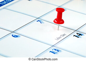 A red pin nailed in the business calendar