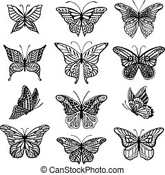 Butterflies graphic illustration - Illustrations of tatto...