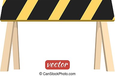 Wooden barrier isolated on white background Black and yellow...