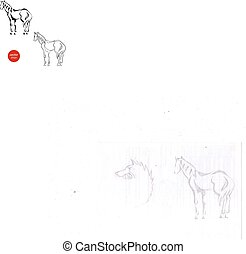 A set of silhouettes of horse from
