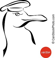 Sketch gull hat isolated on a white background Vector...