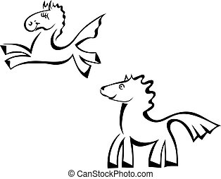 Set Cartoon horse jumping isolated