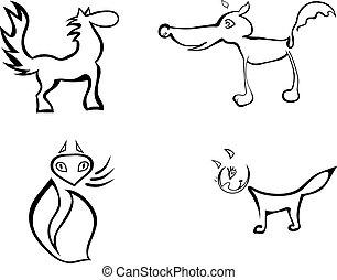 Set of stylized animals