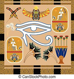 Seamless pattern with the eye of Ra. Vector illustration