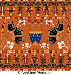 Seamless ethnic pattern with eye of Ra, lotus flowers Vector...