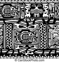Black and white seamless pattern with Fish and Birds. Vector...