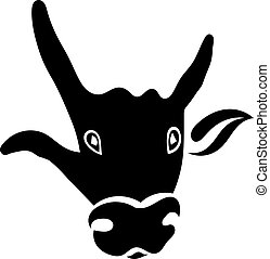 Single silhouette of a bull's head