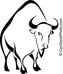 Buffalo isolated on white background. Vector illustration.