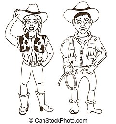 cowboy characters outlined
