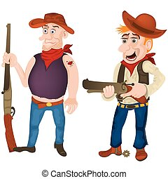 cartoon western bandits - Western bandits armed with rifles