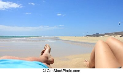 Two person on a beach on Fuerteventura - Spain - Canary...