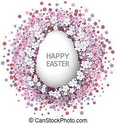 Easter background with egg and spring flower.