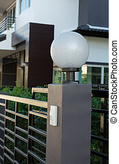 light lamp on front gate of decoration residential house -...