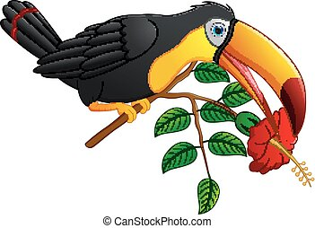 Funny toucan bird cartoon - vector illustration of Funny...