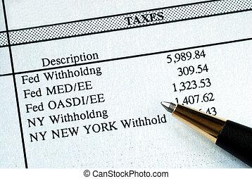 Um, lista, reter, impostos, pagar, material