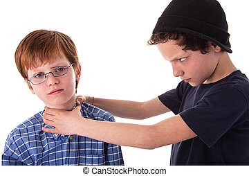 a teen beating a child, isolated on white background
