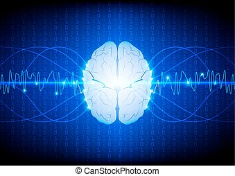 Abstract digital brain technology concept. illustration vector design