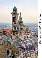 Detail view of church and bell tower in Bergamo, Italy