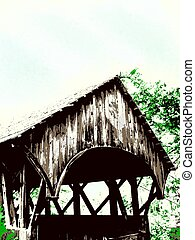 covered bridge in the summer - an illustration of a covered...