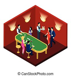 Casino And Cards Isometric Illustration - Casino and cards...