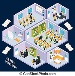 Office isometric interior with conference room, reception...