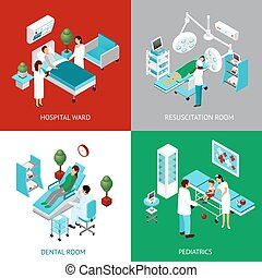 Hospital Departments 4 IsometricIcons Square - Hospital...