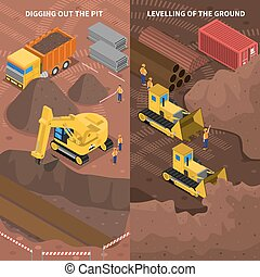 Construction Machinery Isometric Vertical Banners Set