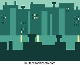 Seamless Cartoon Night City Landscape, Vector Illustration -...