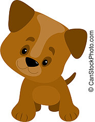 Puppy Big Paws - A cute little puppy with a big head looking...