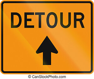 Road sign used in the US state of Virginia - Detour...